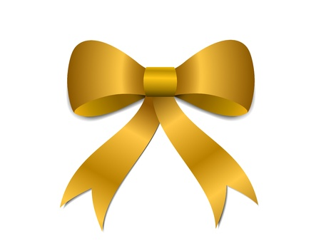Big gold Christmas bow illustration with gradients and opacity, Eps version 8. Vector