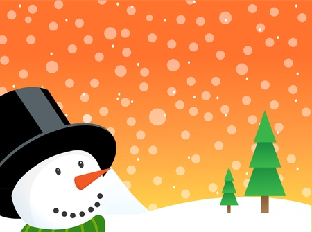Happy christmas snowman illustration with falling snow and lots of copy space. Eps version 8, opacity and gradients used. Stock Vector - 11320072