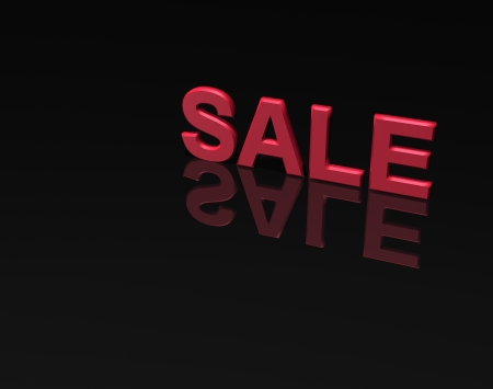 selling off: a 3D word sale isolated on a black background with a reflection.