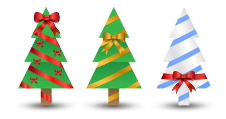 three christmas trees wrapped up like presents with different designs and bows. Eps version 8. Stock Vector - 11662236
