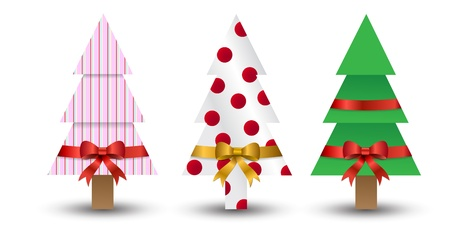three christmas trees wrapped up like presents with different designs and bows. Eps version 8. Stock Vector - 11662235