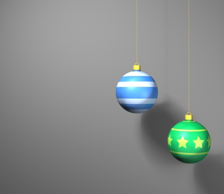 a green and blue 3D bauble against a grey background ready for christmas Stock Photo - 11662244