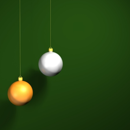a gold and silver 3D bauble against a green background ready for christmas Stock Photo - 11662243