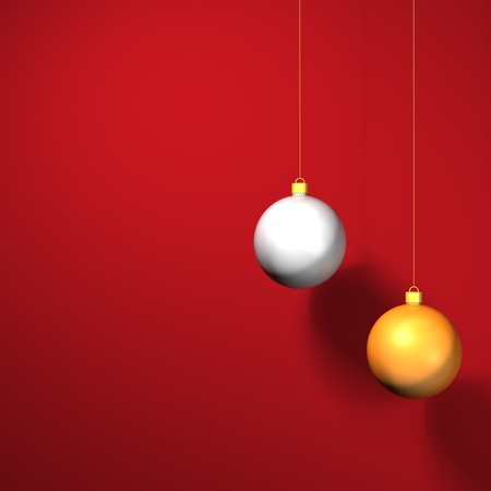 a gold and silver 3D bauble against a red background ready for christmas Stock Photo - 11662246