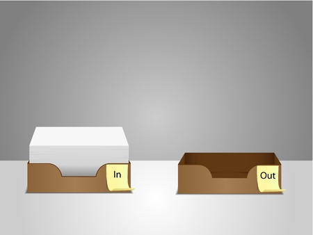 filing tray: office in and out tray with work inside,vector illustration, eps v8.