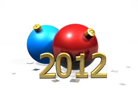 public celebratory event: 2 christmas baubles with a 2012 against a white background with copy space.