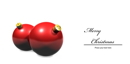 celebratory event: 2 red christmas baubles against a white background with copy space.