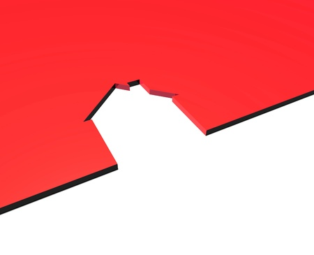a red raised platform with a cut out of a house shape inserted into it. Stock Photo
