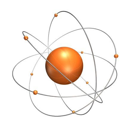 an orange atom with silver chrome rings that have small orange neutrons on. Stock Photo - 11964097