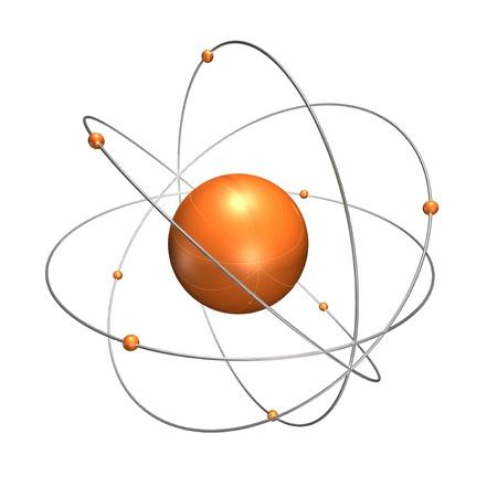 neutrons: un �tomo de plata de color naranja con aros cromados que tienen los peque�os de color naranja en neutrones.
