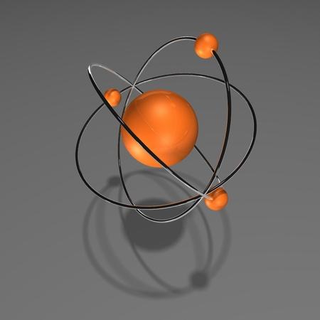 orange atom with chrome rings and neutrons, Stock Photo