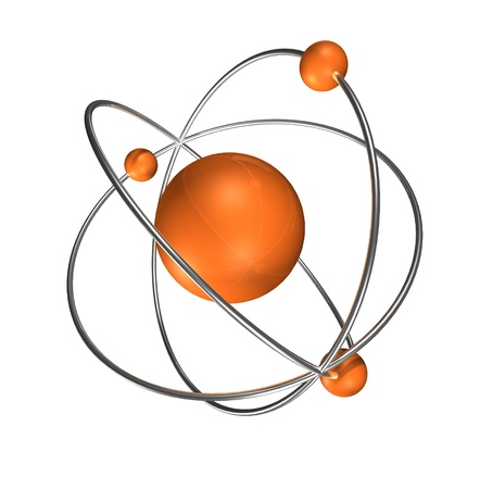 orange atom with chrome rings and neutrons, Stockfoto