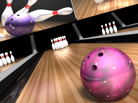 lane: a purple bowling ball hurls down a bowling lane towards 10  white and red pins in a 3d bowling ally scene.