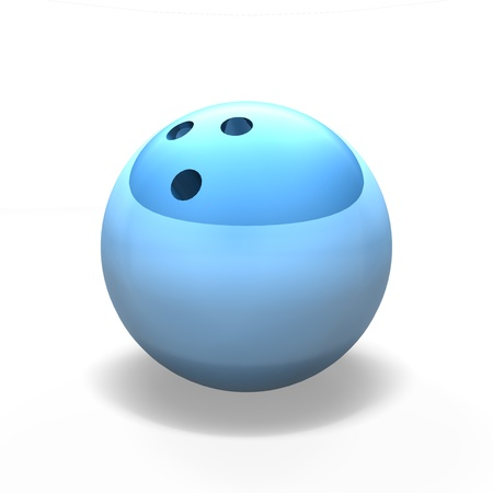blue reflective bowling ball on against a  white background with a shadow. Stock Photo