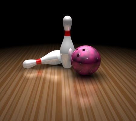 skittles: a purple bowling ball stands still in a bowling ally with two skittles on a shiny floor. this image has plenty of room for copy space.