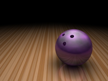 a purple bowling ball stands still in a bowling ally on a shiny floor. this image has plenty of room for copy space.