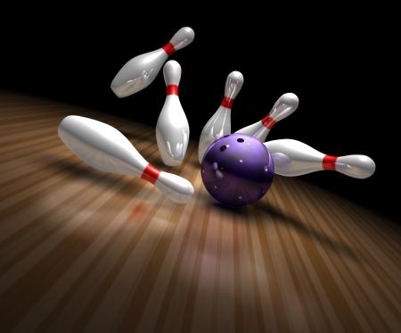 bolos: una bola de boliche p�rpura se estrella contra diez bolos envi�ndolos volando en un aliado de bowling 3d Foto de archivo