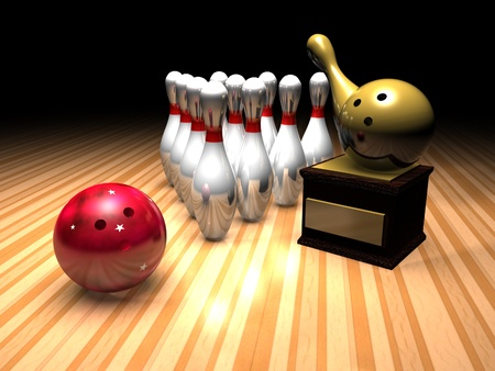 a bowling scene in a bowling alley with a bowling ball, skittles and a gold bowling trophy.