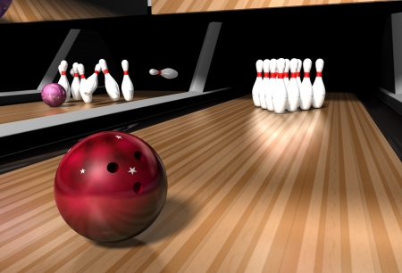 a red bowling ball rolling down a bowling alley ready to crash into skittles on a bowling alley