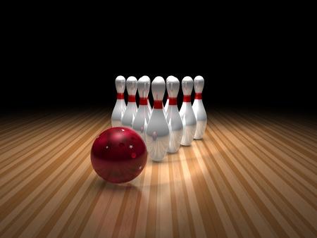boule de bowling et de dix quilles