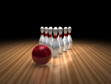 bowling ball and ten pins photo