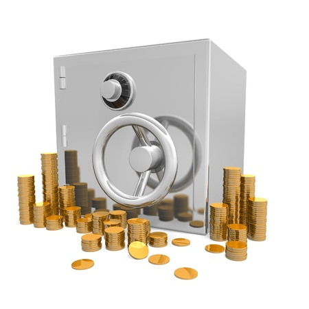 a safe sits isolated on a white background surrounded by hundreds of gold coins Stock Photo - 12166188