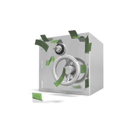 a safe stands on a white background with english bank notes bursting out of it.