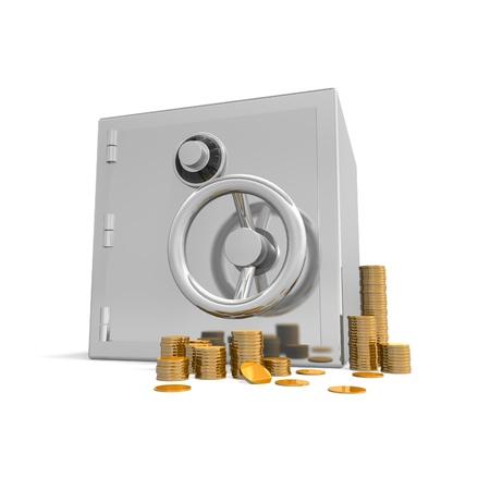 a safe stands on a white background with a few stacks of gold coins Stock Photo - 12160856