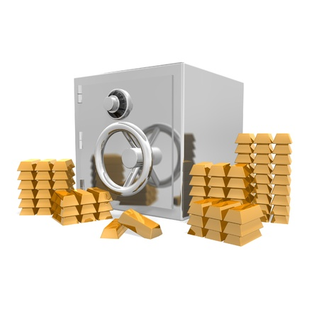 a safe against a white background surrounded with stacks on solid gold bars. Stock Photo - 12160857