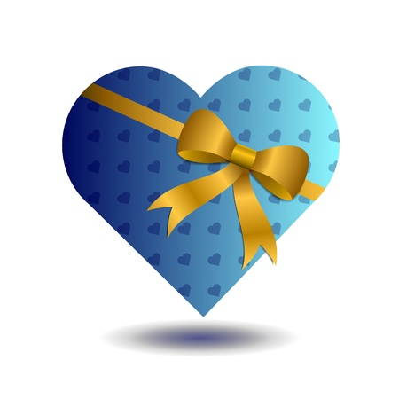 a  heart wrapped up in blue hearted paper with a gold bow wrapped around it.Eps 10 Vector