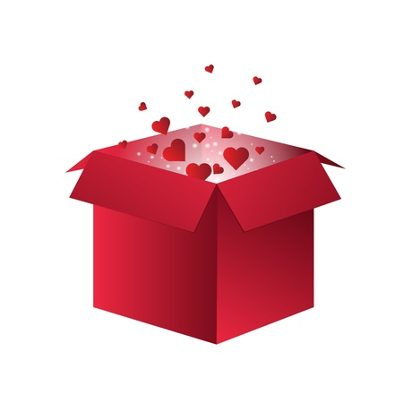 Flying Red Hearts flying out of a box for valentines day for february 14th. Eps 10 Vector