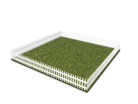 terrain vide avec de l'herbe et une clôture blanche pour symboliser l'achat de terres