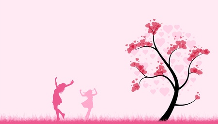 two girls dance in a pink field with a heart tree for valentines day.