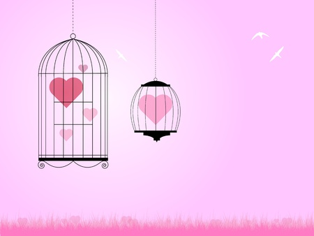 love hearts locked up in cages with birds flying around for a valentines day illustration. Illustration