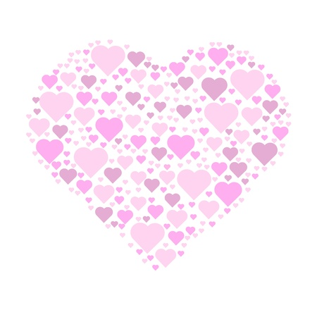 an illustration design of many different coloured hearts arranged to make a giant whole heart.