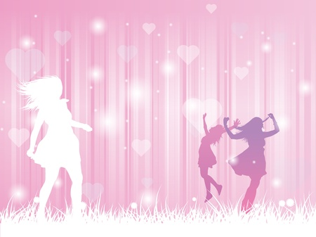 a pink decorative valentines day illustration of three girls dancing on grass Illustration