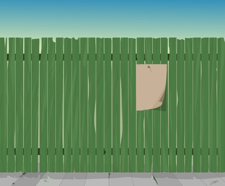 cs: a green old fence with a empty poster on a clear day  Illustration Eps CS Illustration