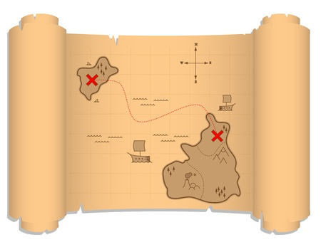 a well detailed pirate map illustration, which contains boats, islands, crosses  Illustration Eps CS