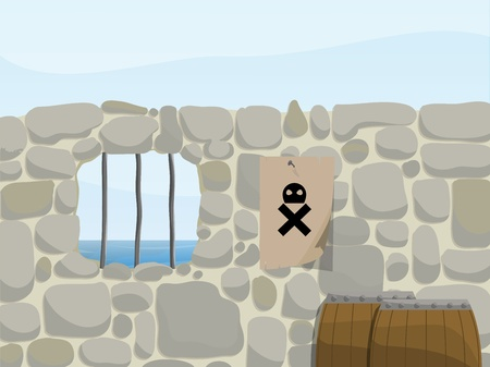 cs: a pirate themed background of a stone wall with barrels and a skull poster  Illustration Eps CS