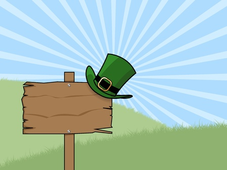 cs: st patricks day sign post illustration with a Leprechauns hat on a sunny day  Illustration Eps CS