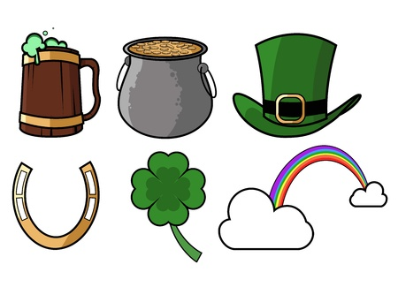 An icon set for St Patricks day which includes a Leprechauns hat, pot of gold, rainbow,beer, horseshoe and a four leaf clover  Illustration Eps CS Vector
