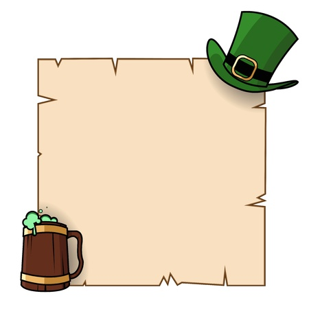 leprechauns hat: St Patricks day poster illustration, with a Leprechauns hat and a pint of green beer  Illustration