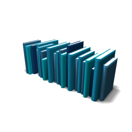 upright row: blue books lined up in a row against a white background