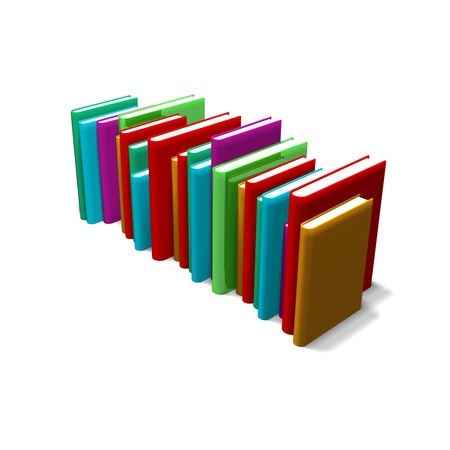 upright: an image of a row of 3d colored books