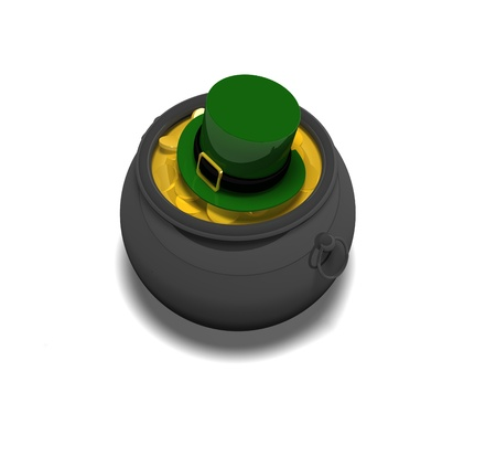 traditionally irish: a great big pot of gold with a Leprechauns hat on top from above for the traditional irish theme for St Patricks day