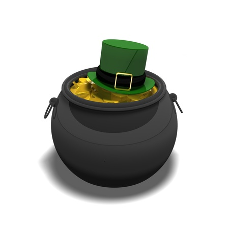 traditionally irish: a great big pot of gold with a Leprechauns hat on top for the traditional irish theme for St Patricks day  Stock Photo