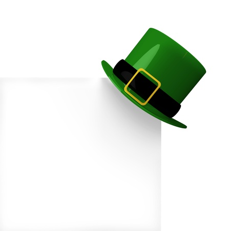 traditionally irish: a Leprechauns hat hangs on a corner of a white page for copy space, the hat casts a small shadow  image is themed for St Patricks day celebration