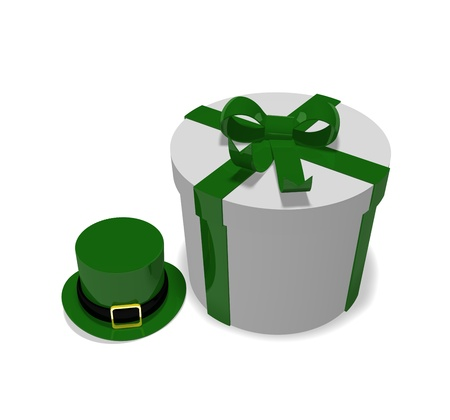 st patricks day present with a green Leprechauns hat on a white background photo