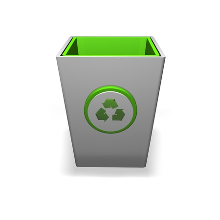 Recycling bin on a white background with a recycle logo on the front of it Stock Photo - 12813351