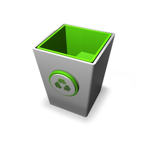Recycling bin on a white background with a recycle logo on the front of it  Stock Photo - 12813359